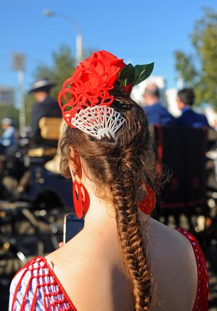 Andalusian girl, Spanish beauty, Fair in Seville, Spain