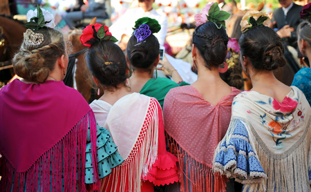 Beatiful girls, Fair in Seville, Fiesta in Spain