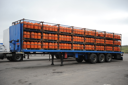 butane: Truck loaded with butane gas cylinders