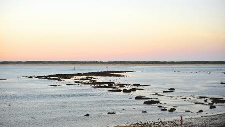 Sunset at the mouth of the Guadalquivir River, Sanlúcar de Barrameda, province of Cádiz, Spain Banque d'images - 106854370