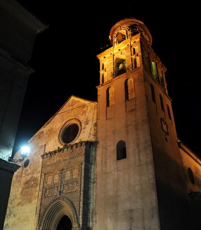 Church of Our Lady of the O at night, Sanlucar de Barrameda, Spain