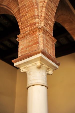 Capital of a marble column in a Sevillian courtyard, Seville, Spain