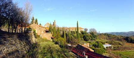 Panoramic view, Cartuja in Cazalla de la Sierra, Seville province, Spain Stock Photo
