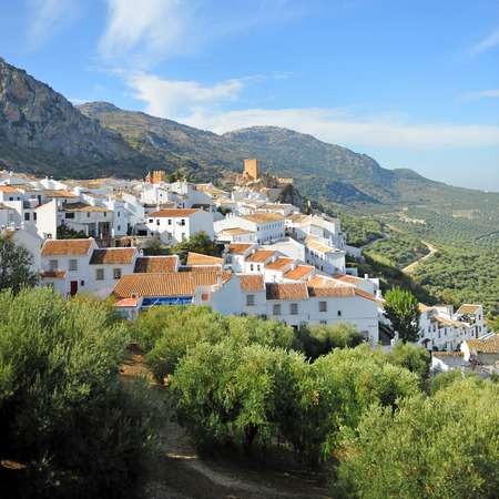 The village of Zuheros surrounded by olive groves, province of Cordoba, Andalusia, Spain