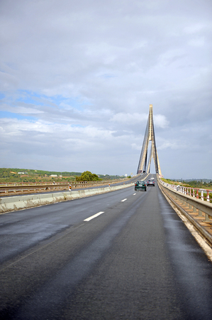 Border between Spain and Portugal, International bridge over the Guadiana river in Ayamonte, Huelva province, Spain