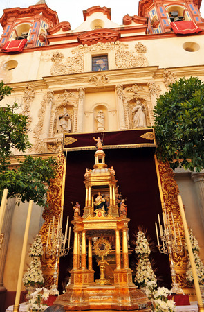 Altar in front of the church during Corpus Christi, Seville, Spain