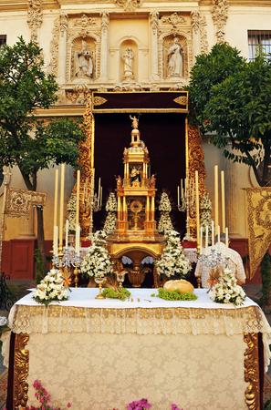 Religious Altar in the street during Corpus Christi, Seville, Spain