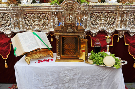 Open tabernacle,  Altar in the street during Corpus Christi, Seville, Spain Editorial