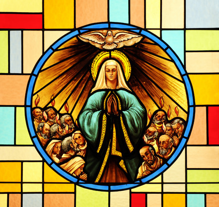 Pentecost, stained glass Stockfoto