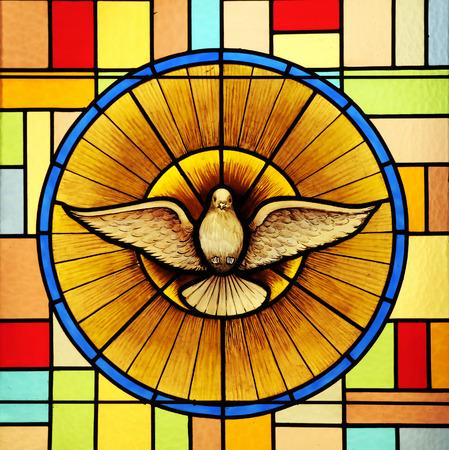 Heilige Geest, glas in lood Stockfoto