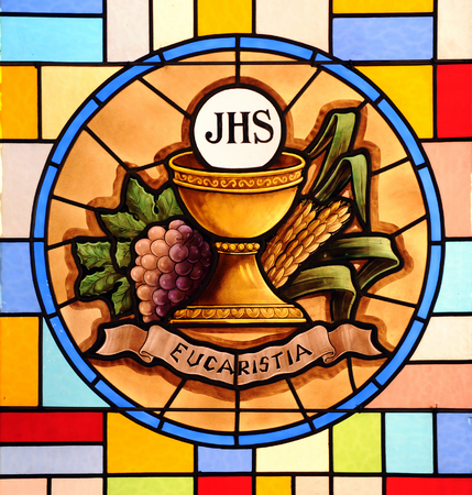 Eucharist, stained glass 스톡 콘텐츠
