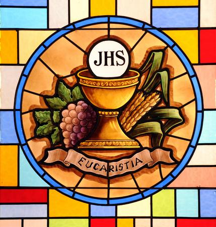 Eucharist, stained glass Foto de archivo