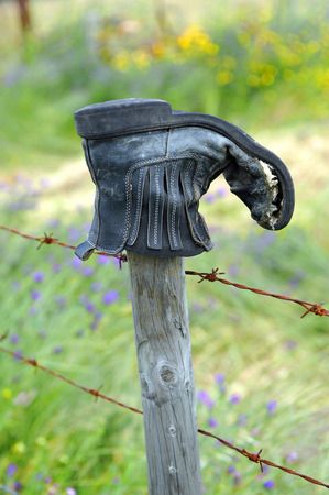 wire fence: Worn boot, globetrotter