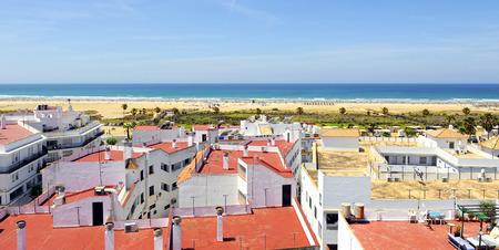 Panoramic view of the Bateles beach in Conil de la Frontera, Costa de la Luz, Cádiz province, Spain