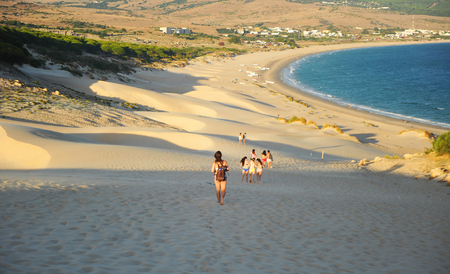 ビ砂丘、コスタ ・ デ ・ ラ ・ ルス、カディス県、アンダルシア、スペインからのビュー 写真素材