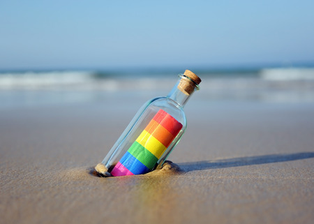Gay pride, message in a bottle Reklamní fotografie - 87149043