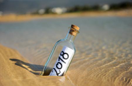 Happy New Year 2018 in the beach Standard-Bild