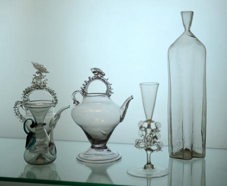 Antique glassware for beverages, Bordeaux, Aquitaine, France