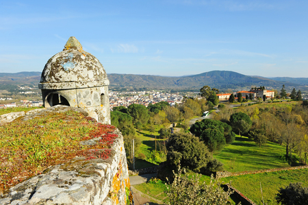 Guardhouse at the Castle of Monterrei and view of Verin, Orense province, Galicia, Spain.