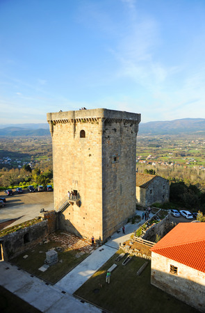 Monterrei Castle donjon in Verin, famous town in Ourense province, Galicia, north of Spain.