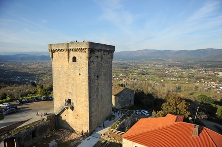 Landscape with the donjon of Monterrei Castle in Verin, famous town in Ourense province, Galicia, north of Spain.