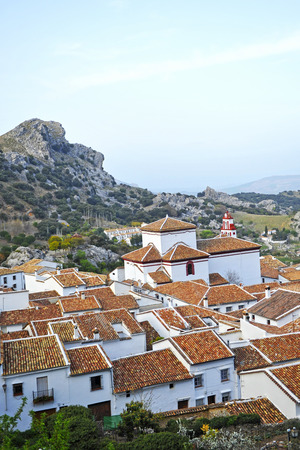 Panoramic view of Grazalema, route of the White Villages in the province of Cadiz, Andalusia, Spain Banque d'images - 106188447