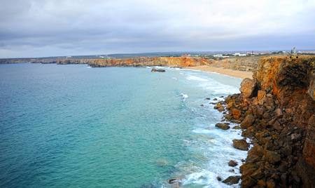 Tonel Beach, paradise of european surfers. Sagres, beaches of Algarve Region, South of Portugal Banque d'images - 106708311