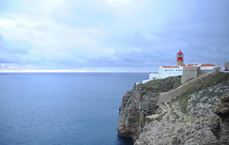 Lighthouse of Cape St. Vincent at sunset. Algarve Region, Portugal. Banque d'images - 106708363