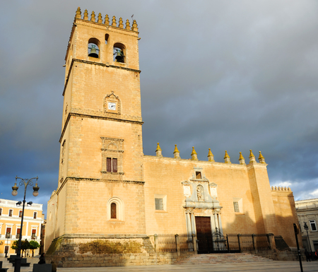 Cathedral of St. John the Baptist and City Hall at background, Badajoz, Extremadura, Spain