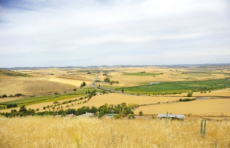 Panoramic view of the Guadiana River valley from the ruins of the castle of Alarcos in Ciudad Real Castilla la Mancha Spain Imagens