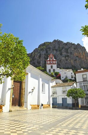 Church of Our Lady of the O (Nuestra Señora de la O) and Hermitage of St. Anthony (San Antonio) in the Square (La Plaza). Ubrique, white villages of the Sierra of Cadiz. Imagens