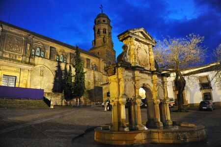Square of St. Mary (Plaza de Santa Maria) and Cathedral at night in Baeza. Renaissance town in Jaen province.