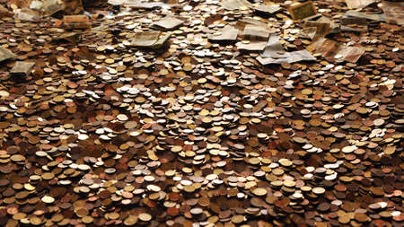 pile of coins and banknotes on the ground after an offering Standard-Bild