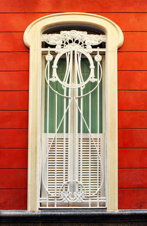 Modernist window in old town of Cadiz, Andalusia, Spain