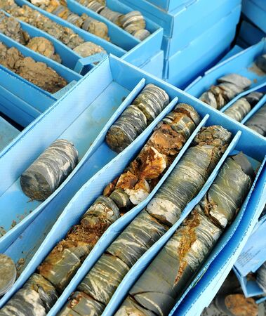 Classification box of rock drilling samples in a geological survey for construction of a tunnel, Spain