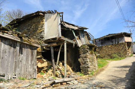 Ruined stone house in the village of As Eiras on the Camino de Santiago a Laza, Orense province, Spain