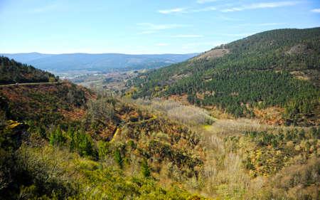 Autumnal landscape of the mountains on the Camino de Santiago, Camino Sanabres, near Laza, Orense province, Galicia, Spain