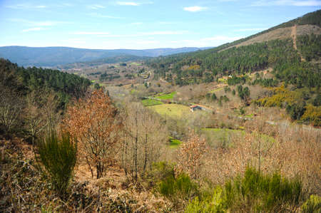 Autumn natural landscape of the mountains on the Camino de Santiago, Camino Sanabres, near Laza, Orense province, Galicia, Spain