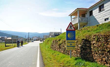Pilgrims entrance of the Camino de Santiago in Laza, Camino Sanabres from Campobecerros to Laza, Orense province, Spain Standard-Bild