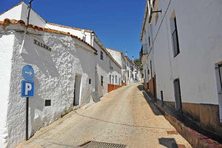 Street of Castano del Robledo beautiful village of the Sierra de Aracena Natural Park. Province of Huelva Andalusia Spain