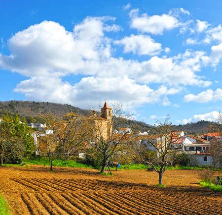 View of Castano del Robledo beautiful village of the Sierra de Aracena Natural Park. Province of Huelva Andalusia Spain Standard-Bild