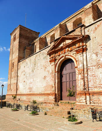 Unfinished church or church of the cemetery in Castano del Robledo beautiful village of the Sierra de Aracena Natural Park. Province of Huelva Andalusia Spain