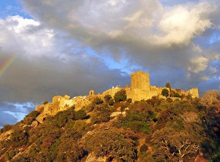 Castellar de la Frontera castle (Old Castellar), Alcornocales Natural Park, province of Cadiz, Spain Editorial