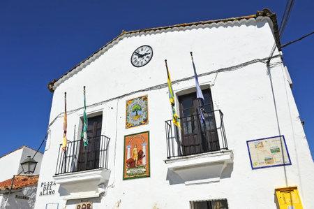 Town Hall (Ayuntamiento) in Castano del Robledo beautiful village of the Sierra de Aracena Natural Park. Province of Huelva, Andalusia, Spain Editorial