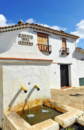 Drinking water source (Fuente del Chorro) in Castano del Robledo, a beautiful town in the Sierra de Aracena Natural Park. Huelva province, Andalusia, Spain