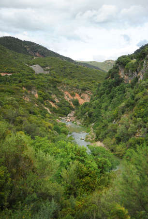 The Guadiaro river near the Canyon of the Buitreras -Canon de las Buitreras-, famous gorge located at the Alcornocales Natural Park, province of Malaga, Andalusia, Spain