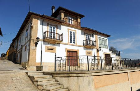 Stone house in the Plaza de la Picota (Praza da Picota) in Laza, town in the province of Orense, Galicia, Spain