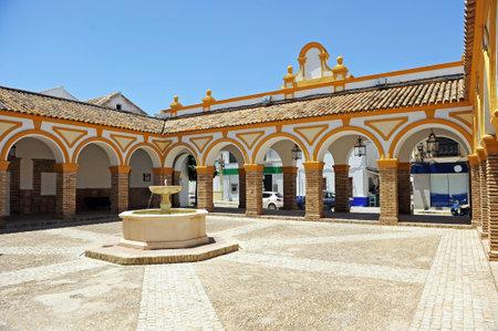 Plaza del Cabildo in La Puebla de Cazalla, a town in the province of Seville, Andalusia, Spain Editorial