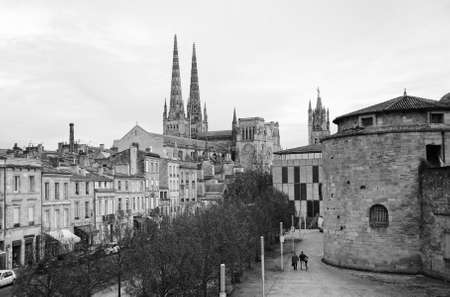 Black and white image of Bordeaux with the gothic cathedral of Saint Andre, Aquitaine, France