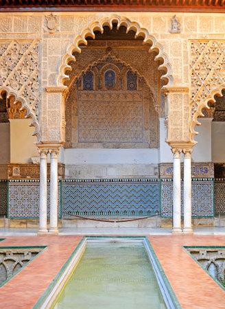 Alcazar of Seville Spain. Mudejar Palace. Patio de las Doncellas - Courtyard of the Maidens Editorial